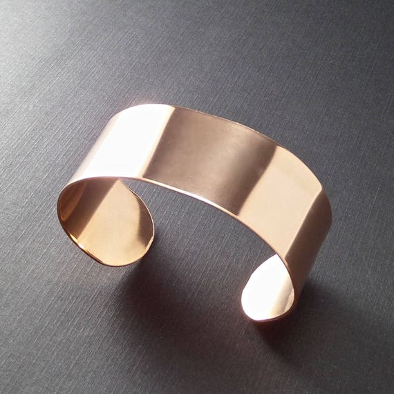 1 Cuff - 1 x 6 Inch Copper or Jeweler's Brass 18 Gauge Tumble Polished or RAW Bracelet Blank Cuffs - 1 Cuff - Flat