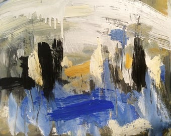 Bold Expressive abstract painting for home decor and interior design decoration with blue black and yellow