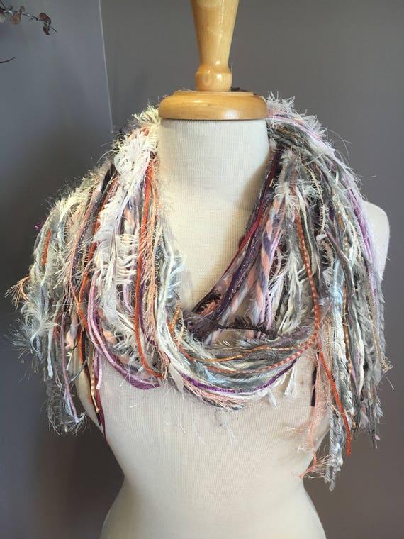 Medium Fringie in Moon Dance 2, All Fringe Scarf, Handmade hand-tied art fringe scarf in grey purple white orange, bohemian, short scarf