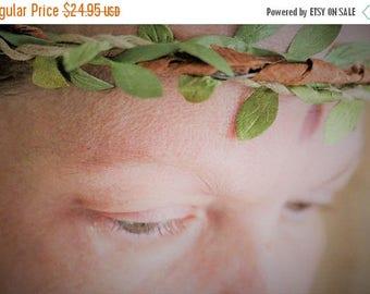 Save25% Wedding halo-Wedding Crown-Wired bark and silk green leaf head band-Braided head band