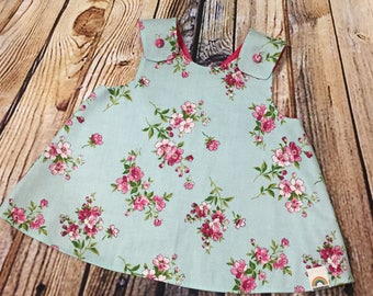 "Little Girl Dress ""Dixie"" Crossover back Pinafore floral dress 9-12 month // Baby Shower Gift // Handmade Dress // Gifts for Baby Girls"