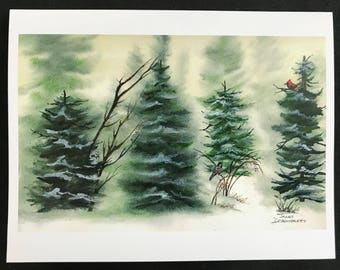 Fine Art Watercolor Print Snowy Evergreen & Bare Trees With Snowy Owl, Black Capped Chicadee, Red Cardinal, Sunny Sky, by Janet Dosenberry