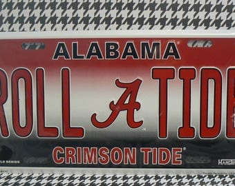 Alabama Bama Football License Plate Car Truck Tag Crimson Roll Tide
