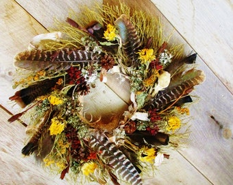 Midsummer Wreath, Turkey Feather and Skull Wreath, Natural Twig Moss and Dried Flower Wreath, Rustic Wall Art, Wiccan Pagan Altar Decoration