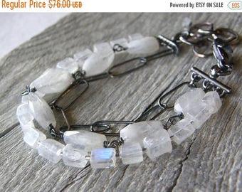 Summer Sale 20% Off Multi-Strand Moonstone Bracelet, Layered Stone Bracelet, Large Link Sterling Silver Chain