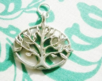 Silver Tree of Life Charm Pendant,Tree of Life Open Design Pendant