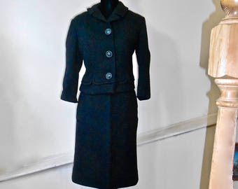 SALE 30% OFF  1950s Black Wool Blend Skirt Suit