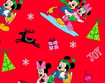 Disney Mickey & Minnie Mouse Home for the Holidays Christmas Cotton Fabric by the yard and by the half yard