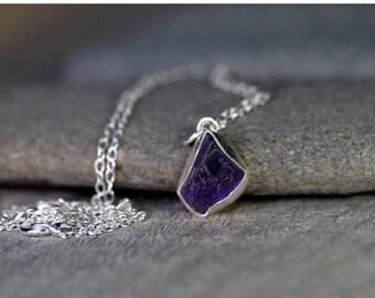 Summer Sale Raw Amethyst Necklace In Indigo, February Birthstone, 2.25ct Uncut Raw Amethyst Necklace, Amethyst Gift