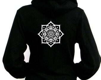 Lotus Flower Hoodie - American Apparel Unisex Zip Up Hoodie - xxs, xs, Small, Medium, Large, XL, 2XL