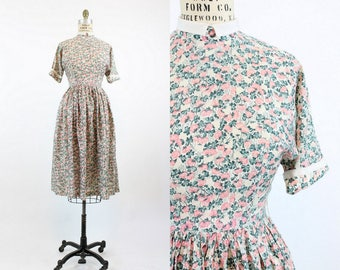 40s Dress Floral Silk XS / 1940s Vintage Dress  / Clover and Rose Frock