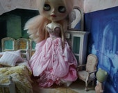 Blythe OOAK FAIRY GOWN - Ultra Luxe Full Length Gorgeous Hand-Dyed Silk Fairy Dress -  Petal Pink