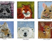 Wildlife Miniature Paintings - Tiny Fine Art Animals on Canvas - Deer Raccoon Fox Bear Coyote Mouse - Affordable Art - Mini Animal Art Totem