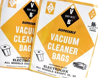 8 Vintage ELECTROLUX Vacuum Cleaner Bags / Disposable Bags / Fits Many Models / Unopened Original Packages/ Mid Century Home Cleaning Supply