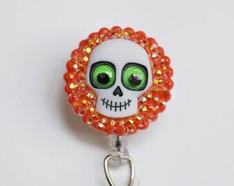 Halloween Googly Eyed Skull ID Badge Reel - Retractable ID Badge Holder - Zipperedheart