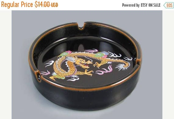 Christmas in July Sale Vintage mid century signed Otagiri OMC Japan black ceramic enamel ashtray with colorful dragon / smoking / tobacciana