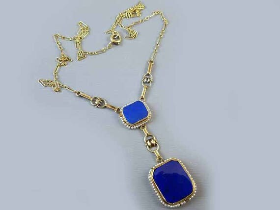 Fantastic Art Deco antique 14k green gold blue lapis lazuli and seed pearl pendant necklace circa 1920