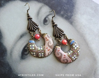Chandelier Earrings Palace Frescoes and Antique Portuguese Azulejos Queen of Portugal  Palace of Queluz,  Neoclassic Versailles Renaissance