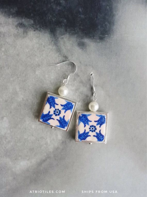 SILVER Earrings Portugal Tile Azulejo Blue Antique PORTO and Povoa do Varzim (see actual Facade photo)  Gift Box Included 762