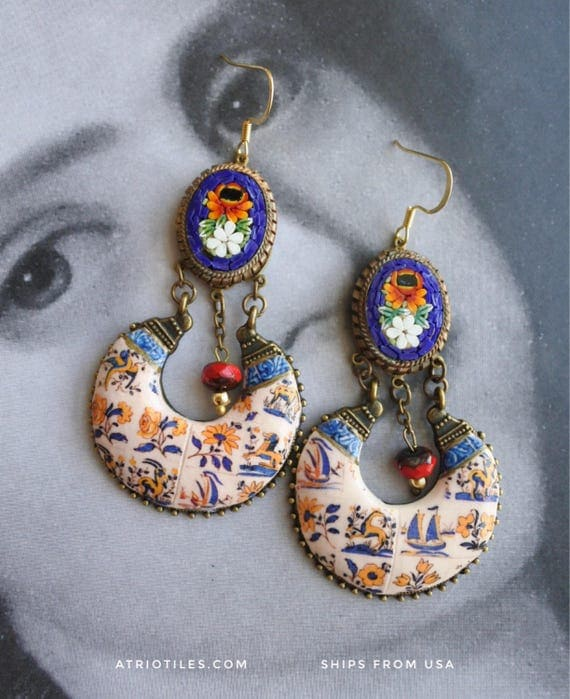 Earrings Portugal Tile Chandelier Azulejo - with Micro Mosaic Italy Delft from Viuva Lamego Factory, Lisbon - Founded in 1849   OOAK