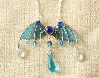 Stormy Blue Jewelled Translucent Resin Dragon Wing Pendant Necklace/Magical Fantasy RPG Dungeons Fairytale Gamer Jewelry