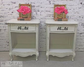 Pair of French Provincial Nightstands, Distressed White - Chic NS602 Shabby Farmhouse Chic, Dresser, Nursery Furniture