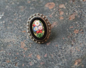Beautiful Vintage Black Micro Mosaic Sterling Silver Ring Size 6