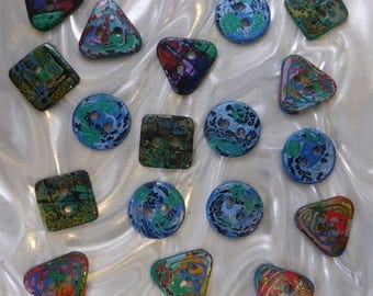 18 unusual funky handmade buttons (set18_26)