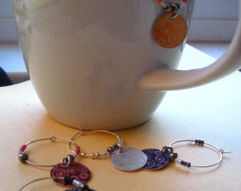 GROOVY Disc Glass Markers  -- Wine CHARM SET
