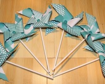 NEW - Aqua Pinwheel Collection (Qty 12) Aqua Pinwheels, Aqua Paper Pinwheels, Aqua Pinwheel Centerpieces, Aqua Pinwheel Party Favors