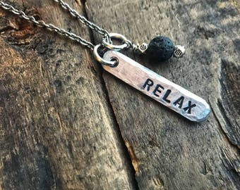 Relax Stamped Aluminum Necklace with Lava Stone Dangle- Essential Oils Diffuser- Gift for her