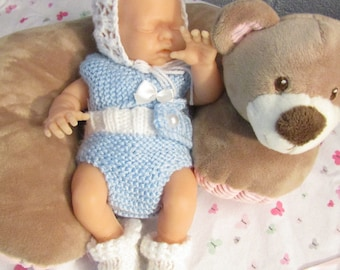"Pattern for 10"" Doll Knitted Diaper Shirt, Diaper Cover, Booties and Bonnet"