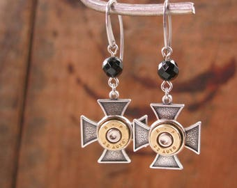 Biker Jewelry - Bullet Jewelry - Bullet Casing Maltese Cross Black Beaded Dangle Earrings - SureShot Jewelry