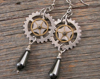 Steampunk Earrings - Industrial Style - Mixed Metal Watch Gear - Clock Gear & Hemalyke Teardrop Dangle Earrings