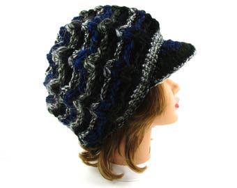 Women's Newsboy Hat - Crochet Cap - Slouchy Tam With Visor - Brimmed Beanie - Hearst Hat With Brim - Puff Stitch Cap - Visor Hat
