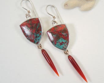 Sonoran Sunrise and Carnelian Earrings, Dangle Earrings, Sterling Silver and 14kt Gold RESERVED