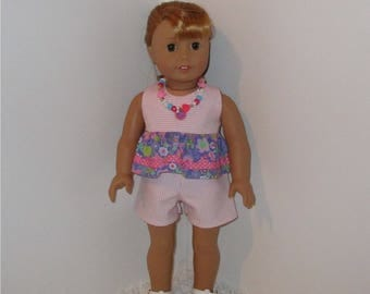"""Pink and Purple Shorts with Ruffle Top and FREE Necklace, Fits 18"""" Dolls // AG Doll Clothes, AG Doll Summer Set, American Girl Shorts"""