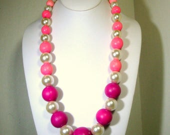 BIG Pretty in Pink n Pearls  Bead Necklace, OOAK Fun by Rachelle Starr, Ecochic Recycled Vintage Beads, Long Graduated Perky Necklace