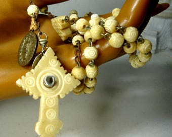 French Celluloid ROSARY, Vintage 1800s Christian Roman Catholic Prayer Beads, Once Had A Stanhope In It, Now Gone, Paris, Used Worn Loved