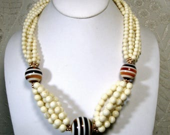 CRISP Cream and Brown Suit Necklace, OFFICE Stylish Striped Globe Beads Offset Many Strands of Off White RESIN, Unused 1980s