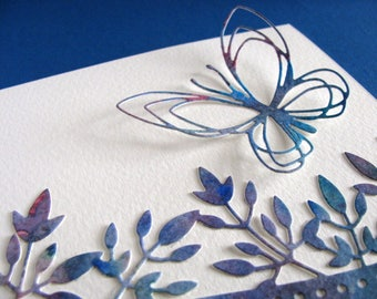 Blue Watercoloured Floral Border Card with Single Matching Open Style Butterfly / A2 Size / Ready to Ship