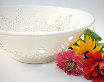 Seconds Sale!  Handmade Perforated Lace Fruit Bowl in White