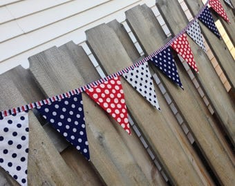 PATRIOTIC FABRIC BANNER-Red White Blue Polka Dots Banner Bunting Garland--4th of July--Independence Day-Army Navy--Summer Party--Labor Day