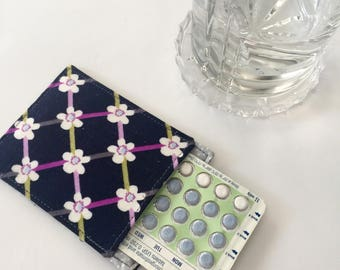 Birth Control Pill Sleeve, Cute Pill Case, Designer Fabric, Pill Sleeve, Cute and Discreet for your Bag