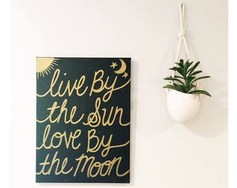 Live Sun Love Moon - Hand painted Canvas - bedroom painting decor home house dwell wall hanging decoration black gold paint art work