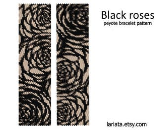 Black Roses - Peyote Bracelet Pattern - INSTANT DOWNLOAD