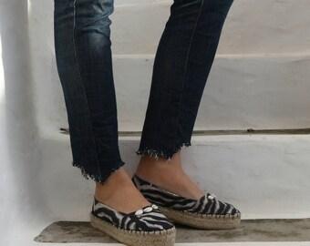 Zebra Print Jute Espadrilles with Cowrie Shells. Summer Handmade Fabric Slip On Shoes. Women's Shoes. Greek Sandals. Gift for Women