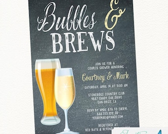 Bubbles and Brews Couple Shower, Bridal Shower, Champagne Invitation, Beer Invitation, Bubbles and Brews Engagement Party, Brewery Invite