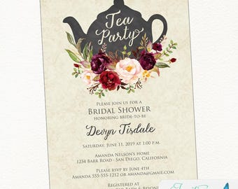 Tea Party Bridal Shower Invitation | Burgundy Bridal Shower Tea Party Invitation | Shabby Chic Tea Party Invitation | Printable Invitation
