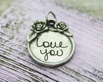 Custom Handwriting Victorian Wedding Bouquet Charm engraved with your loved one's actual handwriting, Fine Pewter